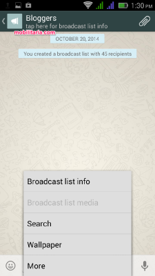 whatsapp broadcast list