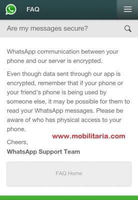 WhatsApp affirming their 'data encryption' status