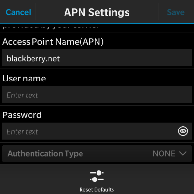 Glo Apn settings for Blackberry 10