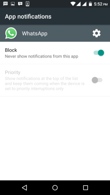 whatsapp notifications block settings