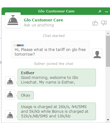 call rate for glo free tomorrow