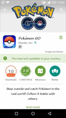 pokemon go is not available in your country