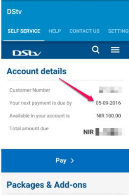 check dstv subscription due date in nigeria