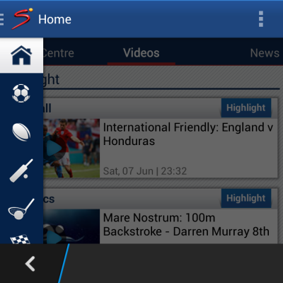 Supersport app for Blackberry 10