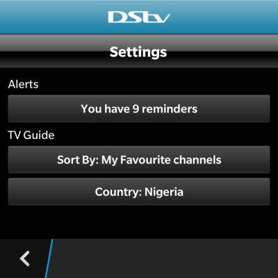 dstv guide app settings