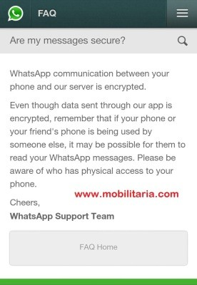 WhatsApp affirming their 'data encryption' status