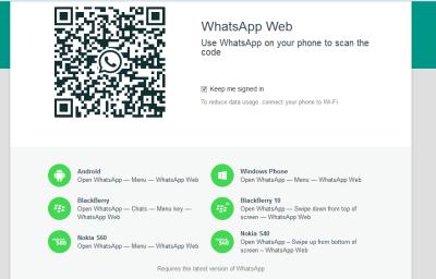 Whatsapp chat on firefox, opera chrome
