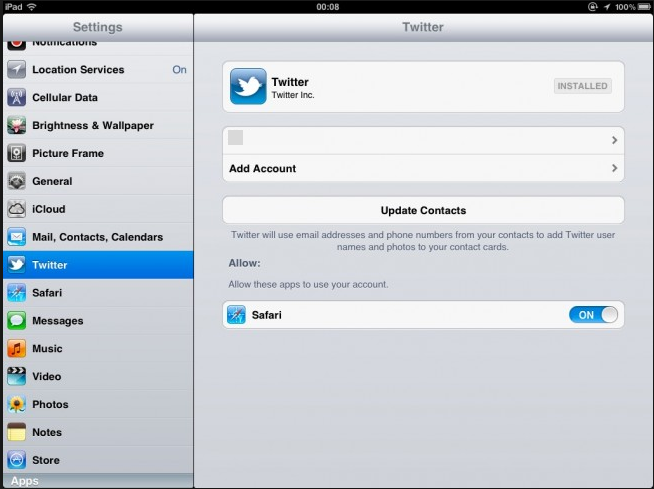 Twitter ipad app settings