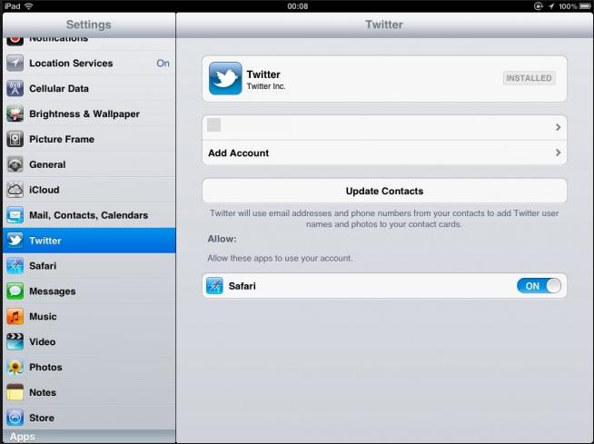 Twitter ipad app settings
