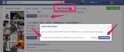 leave facebook group