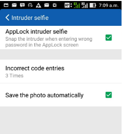 settings for CM security intruder selfie