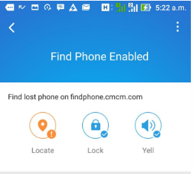 CM Security find phone feature