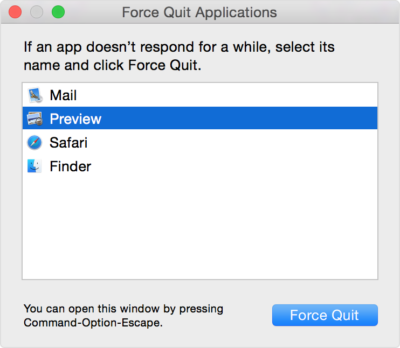 force quit running apps macbook